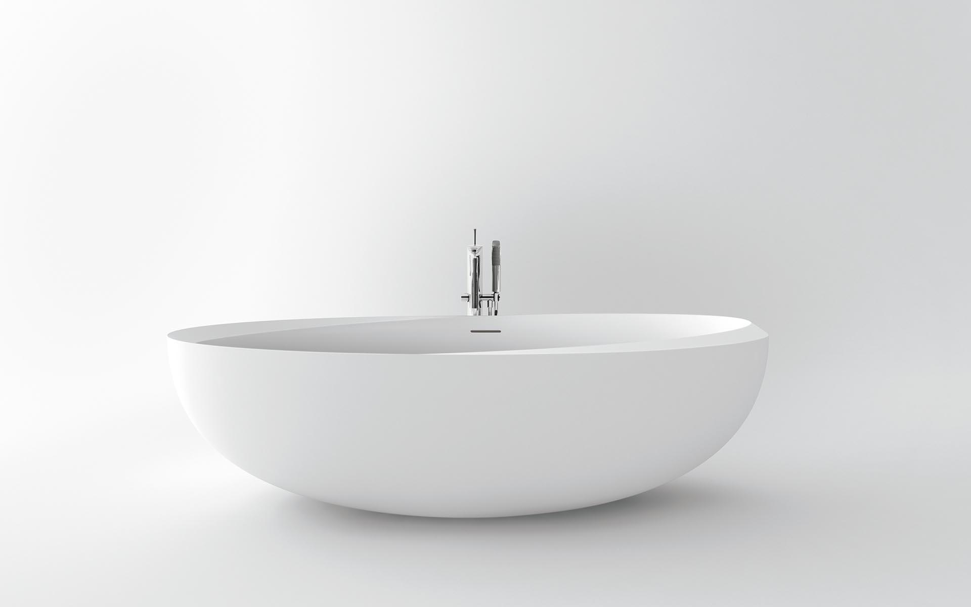 bañera sin bordes, redonda