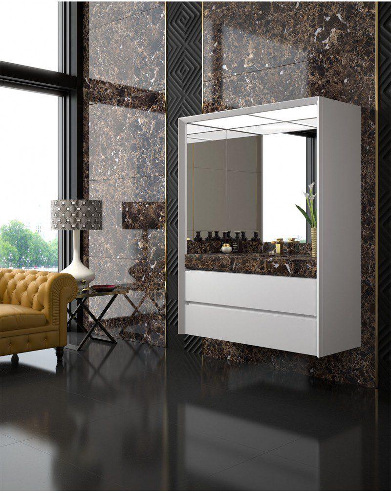 mueble de baño Maderó en mármol marrón