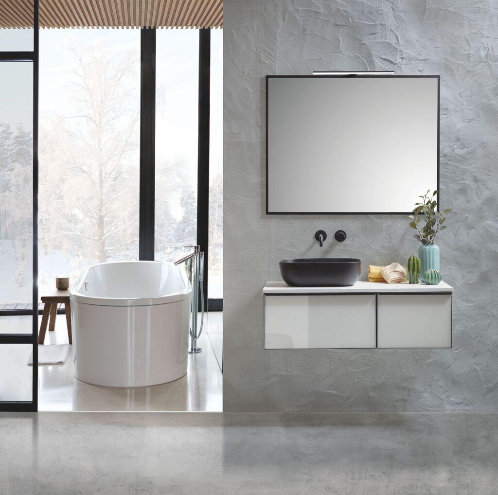 la forma del espejo de baño